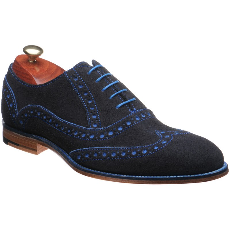 479cbfa7608f2 Barker shoes | Barker Creative | Grant Suede brogues in Navy Blue ...