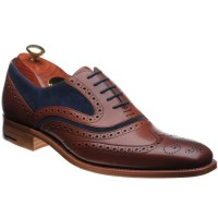 barker mcclean in rosewood calf and navy suede