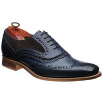 barker mcclean in navy calf and choc suede