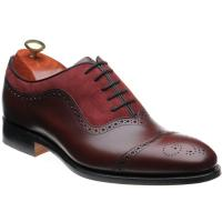 barker nicholas in cherry calf and burgundy suede