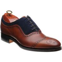 barker nicholas in antique rosewood calf and navy suede