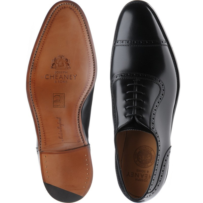 e4759b61019e1 Cheaney shoes | Cheaney of England | Fenchurch semi-brogues in Black Calf  at Herring Shoes