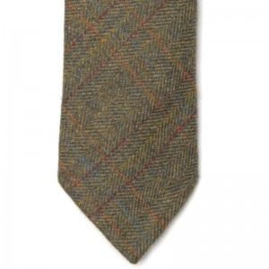 herring herring tweed tie in moorland green