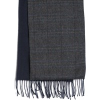 herring rupert scarf in charcoal grey tweed and navy