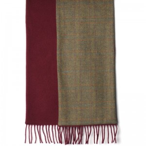 herring rupert scarf in moorland green tweed and burgundy