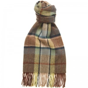 Herring Frame Check Scarf in Heather and Blue