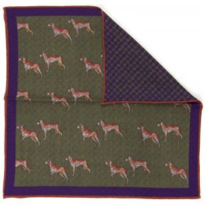 Herring Reversible Pocket Square Foxhound (702 18) in Green Foxhound Houndstooth (4)