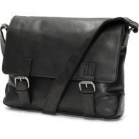 herring enfield messenger bag in black calf