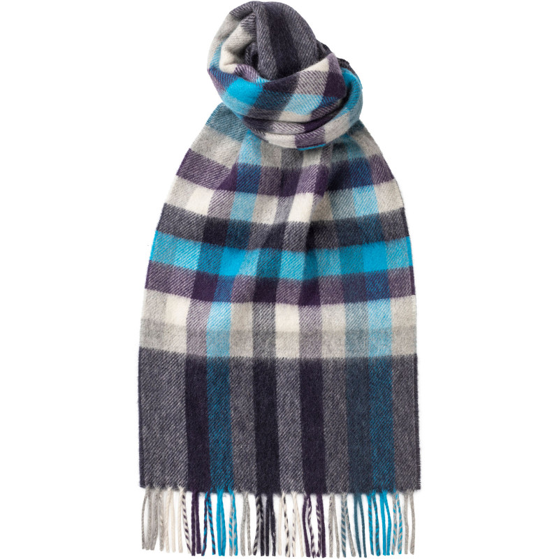 Herring Blue Block Check Cashmere Scarf
