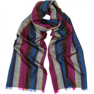 Merino Wool Stripe Scarf in Sapphire and Raspberry Merino