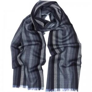 Merino Wool Stripe Scarf in Blue Merino