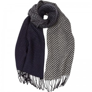 Herringbone Graduation Wool Scarf in Silver and Navy Wool