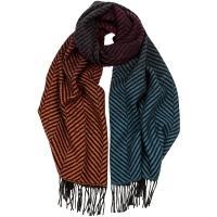 herring herringbone graduation wool scarf in pacific and ginger wool
