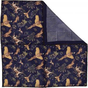 Reversible Sporting II Pocket Square (70333/4) in Navy ( 34-1)
