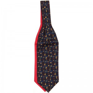 Large Bean Cravat in Navy and Red Reverse