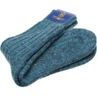 herring donegal wool sock in teal