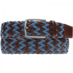 Herring Barca Belt in Brown Calf and Blue Fabric