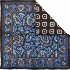 Paisley 2 Pocket Square in Navy