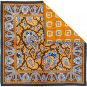 Paisley 2 Pocket Square in Orange
