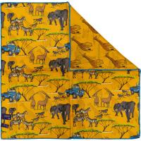 herring safari landrover pocket square in yellow