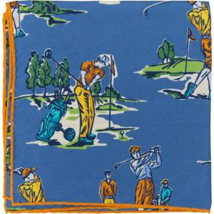 Golf Pocket Square in Blue
