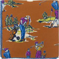 herring golf pocket square in brown