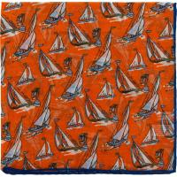 herring yacht pocket square in orange