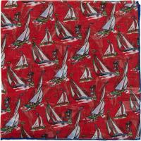 herring yacht pocket square in red