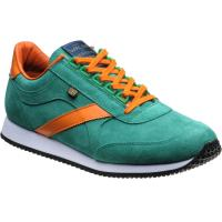 herring voyager trainer in green suede and orange calf