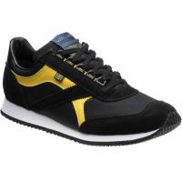 herring voyager trainer in black mesh and black suede and yellow calf