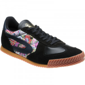 Tokyo Trainer in Black Calf and Printed Linen