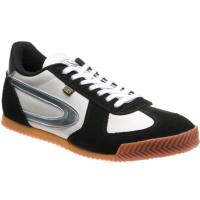 herring tokyo trainer in white calf and black suede