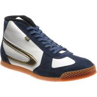 herring tokyo hi-top trainer in white calf and navy suede