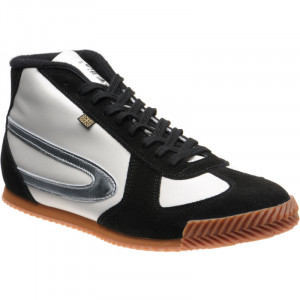 Tokyo Hi-Top Trainer in White Calf and Black Suede