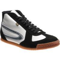herring tokyo hi-top trainer in white calf and black suede