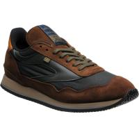 herring ensign trainer in brown calf suede and green waxed cotton