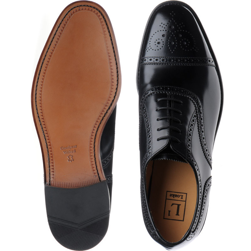 Loake Mens 201 Black Leather Shoes 7.5 US