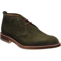 loake sandown in green suede