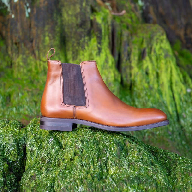 Brown Chelsea boot on a green foliage background
