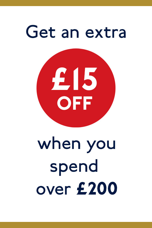 15 GBP off when you spend over 200 GBP