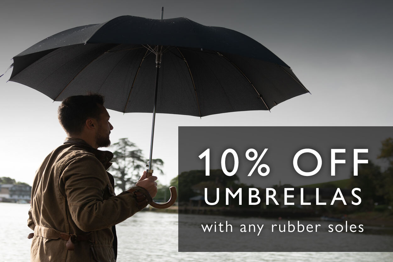 10% off umbrellas with any rubber-soled purchase