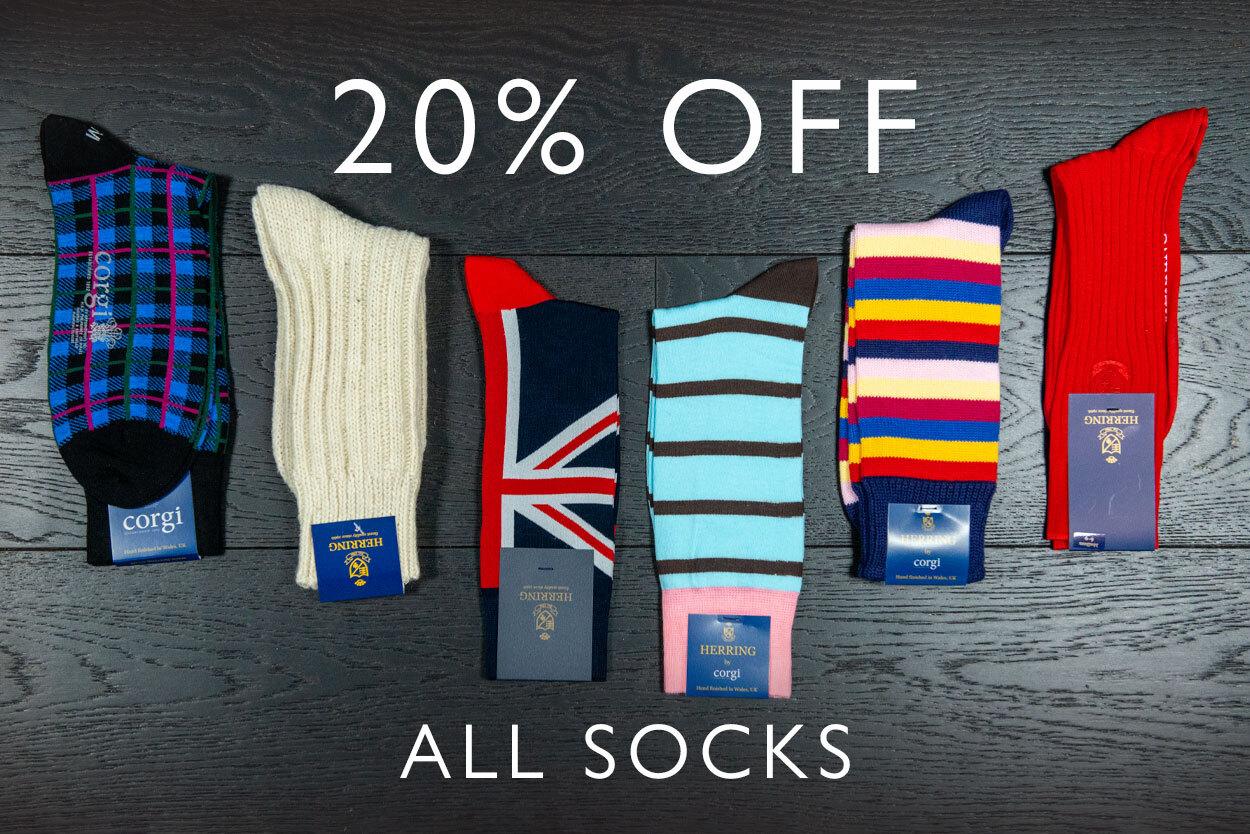 20% off all socks