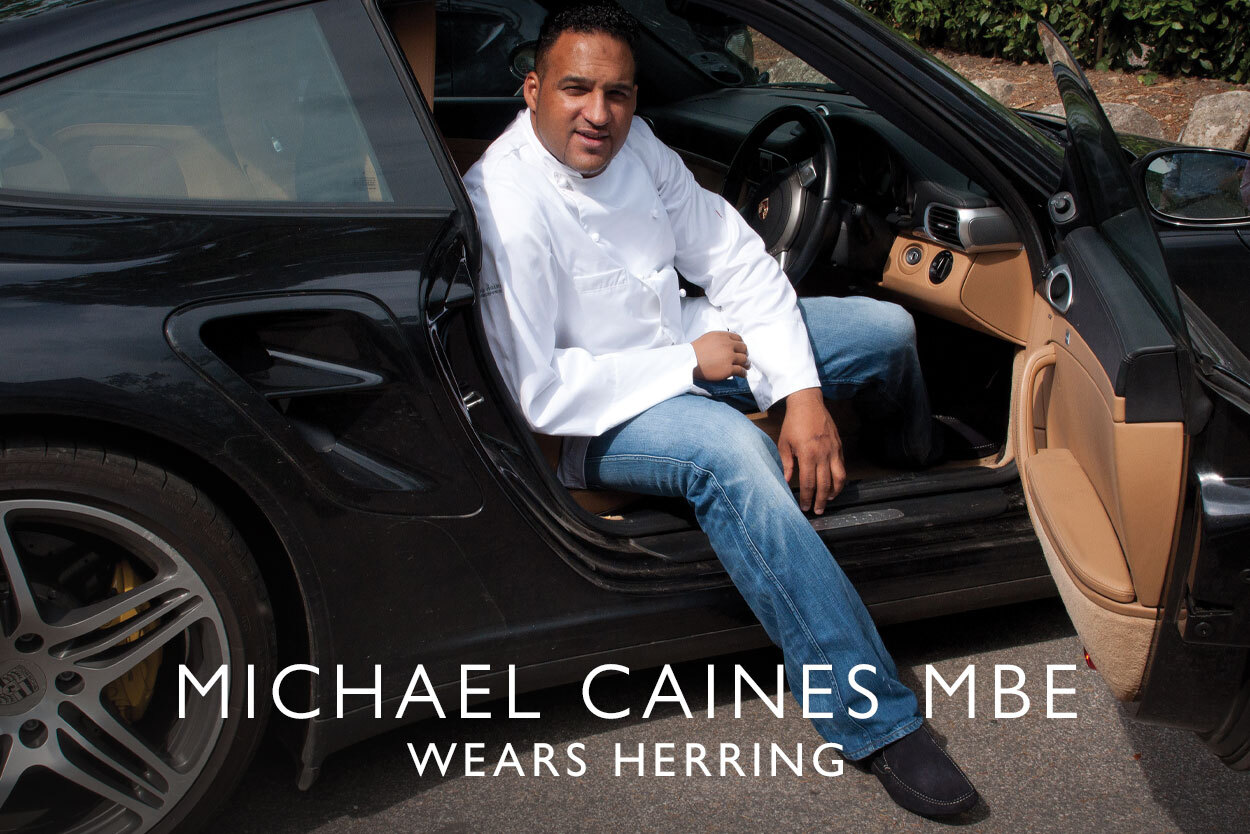 Michael Caines, MBE wears Herring